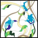 Stained glass style with abstract blue flowers. Square frame. Classical style. Colored stained-glass window in a square frame, abstract floral arrangement of vector illustration