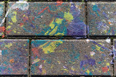 Colored stains of paint on a slab. Colored stains of paint on a concrete slab Stock Images