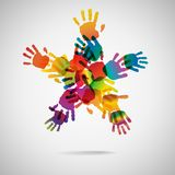 Colored star from hand print icons Royalty Free Stock Photos