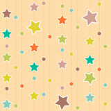Colored stars and circles on beige textured background Stock Photos