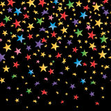 Colored stars with a gradient, black seamless background. Vector Stock Image