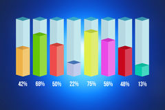 Colored statistic bar graph isolated on a background - Business. View of a Colored statistic bar graph isolated on a background - Business concept Royalty Free Stock Photos