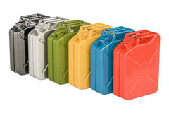 Colored steel jerry cans in row, 3D rendering. Isolated on white background Royalty Free Stock Image