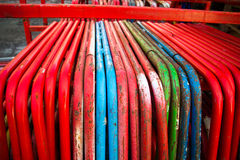 Colored steel tubing. Close up of colored steel tubing used at construction site Royalty Free Stock Photo
