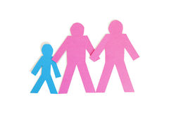 Colored stick figures holding hands over white background Stock Images