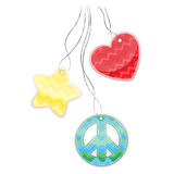 Colored stickers in the shape of heart, a pacifist, star hanging . Stock Photos