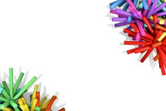 Colored sticks in the corners of the white background. Royalty Free Stock Photos