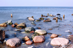 Colored stones on the coast of the Baltic Sea. Stock Photo