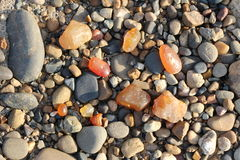 Colored stones on the shore Stock Image