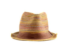 Colored straw hat on a white background. Colored straw hat full face on a white background Stock Photography