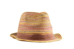 Colored straw hat on a white background. Colored straw hat full face on a white background Royalty Free Stock Image