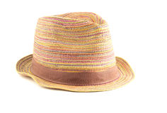 Colored straw hat on a white background. Colored straw hat full face on a white background Royalty Free Stock Photos