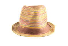 Colored straw hat on a white background Royalty Free Stock Photos