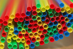 Colored straws. A bunch of colored drinking straws Royalty Free Stock Images