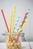 Colored straws for drinks Stock Photo