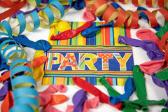 Colored streamers and ballons Royalty Free Stock Image