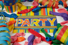 Colored streamers and ballons Royalty Free Stock Photo