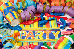 Colored streamers and ballons Stock Images