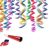 Happy Birthday. Colored streamers and whistle for the holidays Royalty Free Stock Photos
