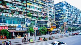 Colored streets - buildings with colorful graffiti royalty free stock photos