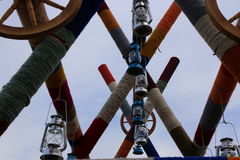 Colored string on beams and  retro lanterns Royalty Free Stock Photography