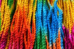 Colored string. Rainbow colored string blue green yellow pink orange royalty free stock image