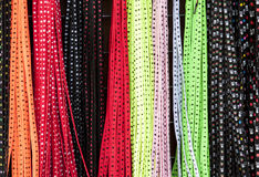 Colored Strings. A pattern of bright coloured lace string taken from a market stand Royalty Free Stock Photo