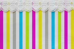 Colored stripe with lace Stock Images