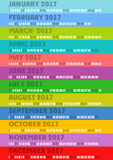 Colored striped calendar 2017. For design stock illustration