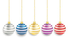 5 Colored Striped Christmas Baubles. 5 colored christmas baubles on the red background stock illustration