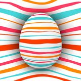 Colored striped egg with simple pink, orange, red, blue stripes. Abstract bright. Rainbow, psychedelic. For text, speech, message wrapping template wallpaper Stock Images