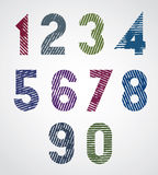 Colored striped numbers. Royalty Free Stock Photo
