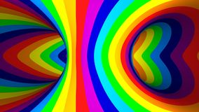 Colored striped tourus hole. 3d illustration stock footage