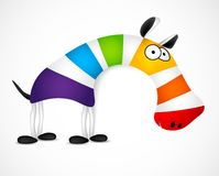 Colored striped zebra. Vector Royalty Free Stock Photo
