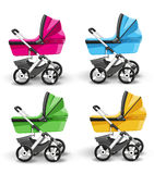 Colored strollers for baby boys and baby girls Stock Photos