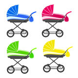 Colored strollers Royalty Free Stock Photos