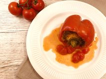 Colored stuffed peppers. stock photo