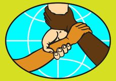 HANDSHAKE ON THE BACKGROUND OF A GLOBE. Colored stylized abstract image of a people handshake with different skin color on the background of a globe Royalty Free Stock Image