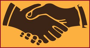 HANDSHAKE ON THE YELLOW BACKGROUND. Colored stylized abstract image of a people handshake on the yellow background Stock Photos