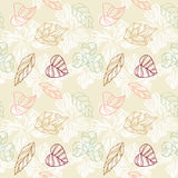 Colored stylized leaves and flowers background royalty free illustration