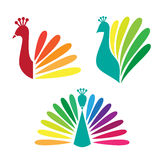 Colored stylized silhouette of a peacock Stock Images