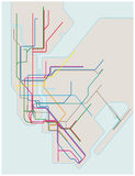 Colored subway map of New York City stock illustration