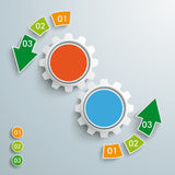 Colored Success Arrow 6 Pieces 2 Gears PiAd. White arrows on the grey background. Eps 10  file Royalty Free Stock Photos