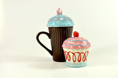 Colored sugar bowl and cup stock photo
