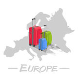 Colored suitcases on map of Europe Stock Photography