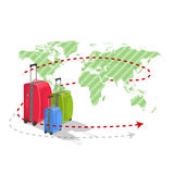 Colored suitcases on world map Royalty Free Stock Photo