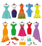 Colored summer dresses and accessories big set Royalty Free Stock Image