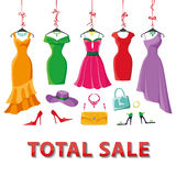Colored summer dresses and accessories set.Sale Royalty Free Stock Photography