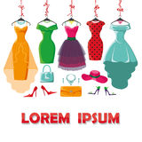 Colored summer dresses and accessories set Royalty Free Stock Photos