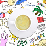 Colored summer sketches around cup of coffee Stock Photo